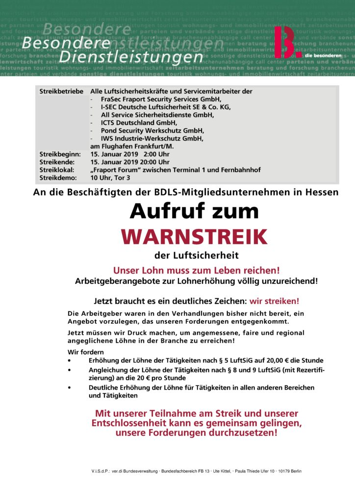 Streikaufruf 15.01.2019 BDLS-Frankfurt/M.