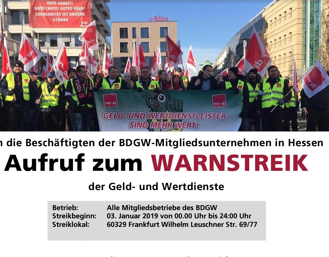 Streikaufruf Geld- und Werttransport 04.01.2019